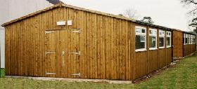 workshop/storage with timber double doors